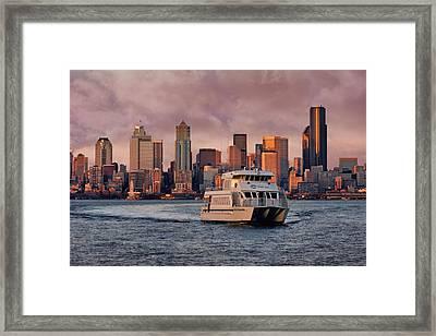 Water Taxi - Seattle - Skyline Framed Print by Nikolyn McDonald