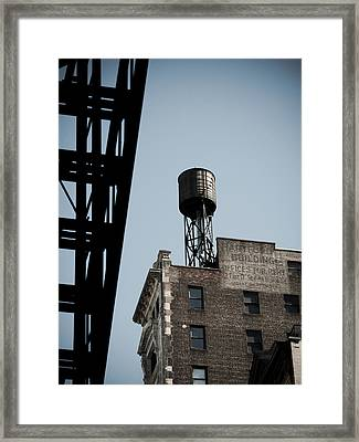 Water Tower And Fire Escape Framed Print by Darren Martin