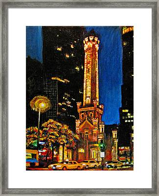 Water Tower At Night Framed Print by Michael Durst