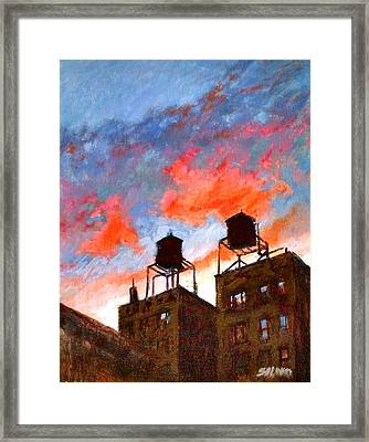 Water Towers At Sunset No. 1 Framed Print