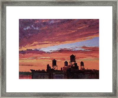 Water Towers At Sunset No. 4 Framed Print