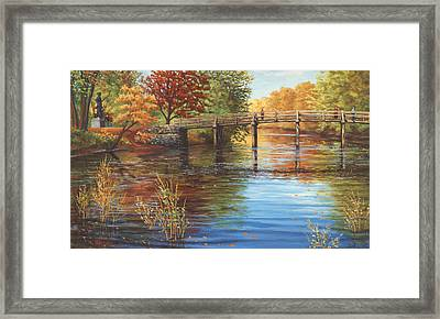 Water Under The Bridge Old North Bridge Ma Framed Print by Elaine Farmer