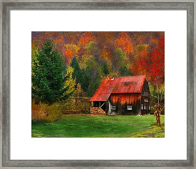 Water Wheel Barn Framed Print