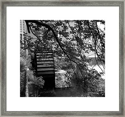 Water Wheel - Black And White Framed Print by Jacqueline M Lewis