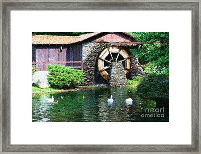 Framed Print featuring the painting Water Wheel Duck Pond by Smilin Eyes  Treasures