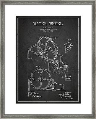 Water Wheel Patent From 1880 - Charcoal Framed Print by Aged Pixel