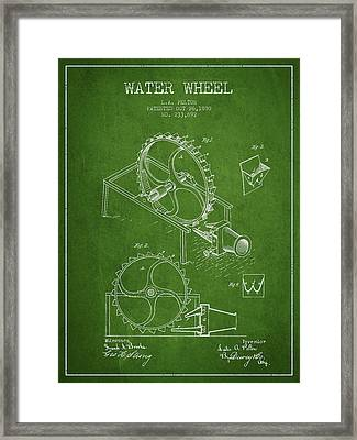 Water Wheel Patent From 1880 - Green Framed Print by Aged Pixel