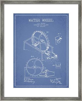 Water Wheel Patent From 1880 - Light Blue Framed Print by Aged Pixel