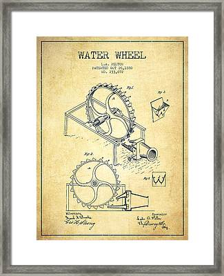 Water Wheel Patent From 1880 - Vintage Framed Print by Aged Pixel