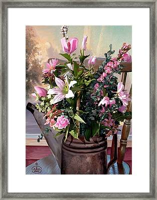 Watercan Bouquet Framed Print by Ron Chambers