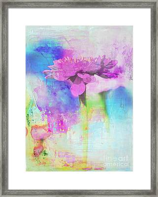 Watercolor Abstract Flower In Purple And Blue Framed Print