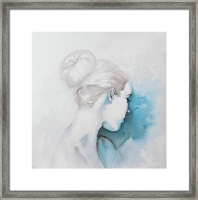 Watercolor Abstract Girl With Hair Bun Framed Print by Atelier B Art Studio
