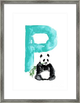 Watercolor Alphabet Giant Panda Poster Framed Print