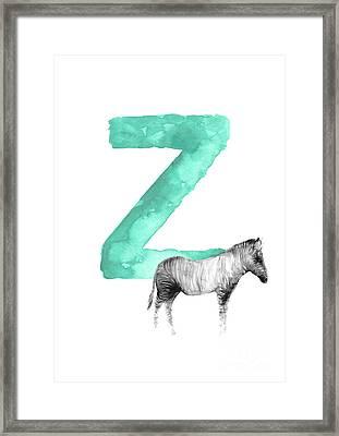 Zebra Kids Painting, Watercolor Alphabet Z Letter, Green Childrens Initials A-z Alphabet  Framed Print