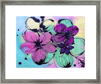Watercolor And Ink Haiku  Framed Print