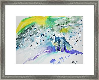 Framed Print featuring the painting Watercolor - Arctic Fox by Cascade Colors