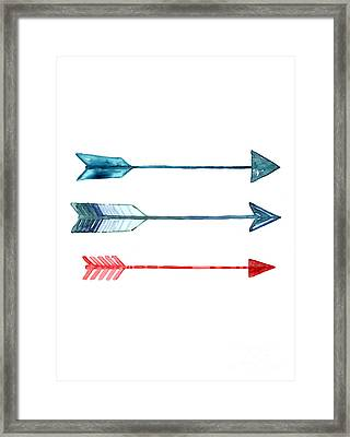 Watercolor Arrow Minimalist Painting Framed Print by Joanna Szmerdt