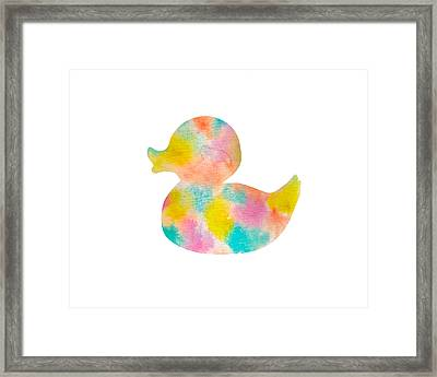 Watercolor Baby Duck Framed Print by Nursery Art