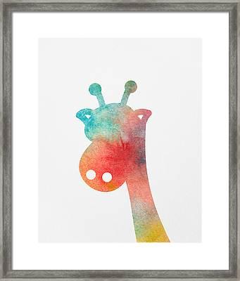 Watercolor Baby Giraffe Framed Print