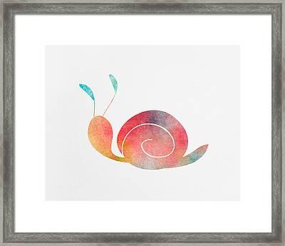 Watercolor Baby Snail Framed Print by Nursery Art