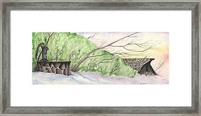 Framed Print featuring the painting Watercolor Barn by Darren Cannell
