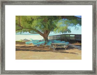 Watercolor Beach Lounge Chairs Framed Print by Aimee L Maher Photography and Art Visit ALMGallerydotcom