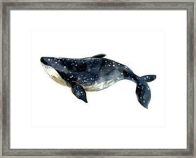 Watercolor Blue Whale Framed Print by Tatyana Komtsyan