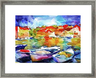 Watercolor Boats By Svetlana Novikova ( Framed Print