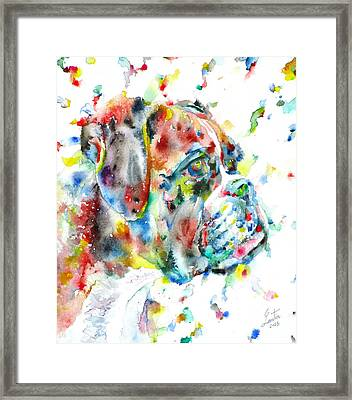 Watercolor Boxer Framed Print