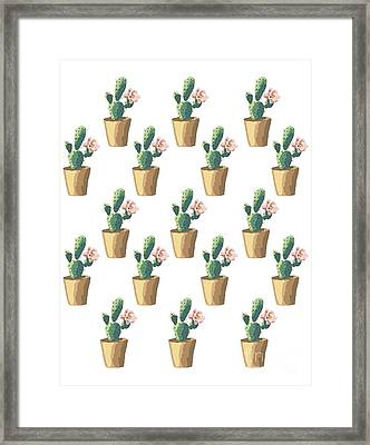 Watercolor Cactus Framed Print by Roam  Images