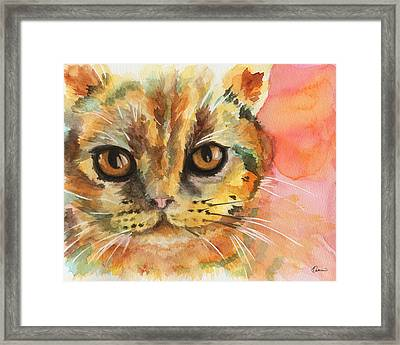 Watercolor Cat 02 Army Cat  Framed Print