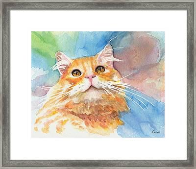 Watercolor Cat 05 Smile Cat Framed Print