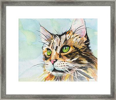 Watercolor Cat 08 Green Eyes Cat Framed Print