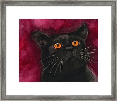 Watercolor Cat 10 Black Cat Framed Print