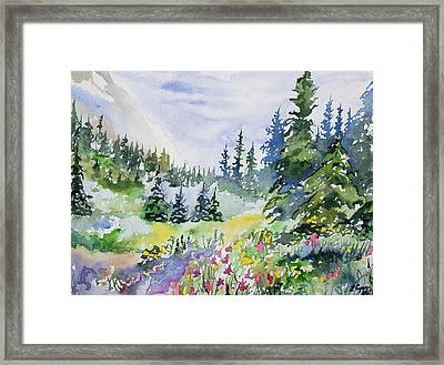 Framed Print featuring the painting Watercolor - Colorado Summer Scene by Cascade Colors