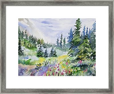 Watercolor - Colorado Summer Scene Framed Print