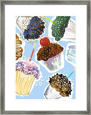 Watercolor Cupcakes With Sprinkles Framed Print