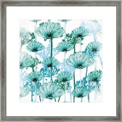 Framed Print featuring the digital art Watercolor Dandelions by Bonnie Bruno