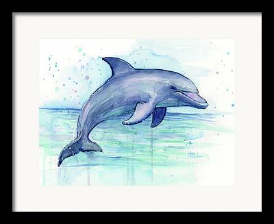 Dolphin Paintings Framed Prints