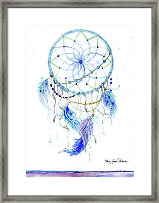 Watercolor Dream Catcher Lavender Blue Feathers 1 Framed Print