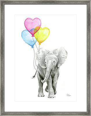 Watercolor Elephant With Heart Shaped Balloons Framed Print by Olga Shvartsur