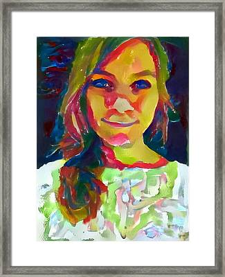 Watercolor Eve Female Portrait Painting Bathed In Sunshine And Vibrant Color Framed Print by MendyZ
