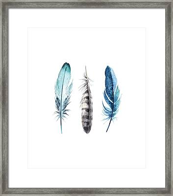 Watercolor Feathers Framed Print by Jaime Friedman