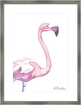 Watercolor Flamingo II Framed Print by D Renee Wilson