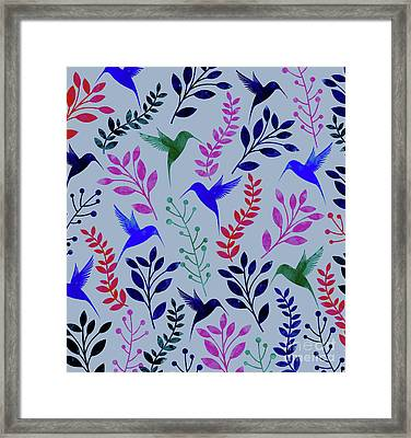 Watercolor Floral Birds Framed Print by Amir Faysal