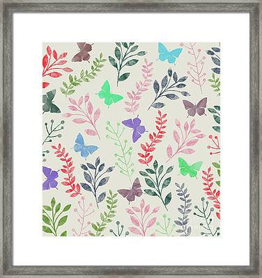 Watercolor Flowers And Butterfly  Framed Print by Amir Faysal