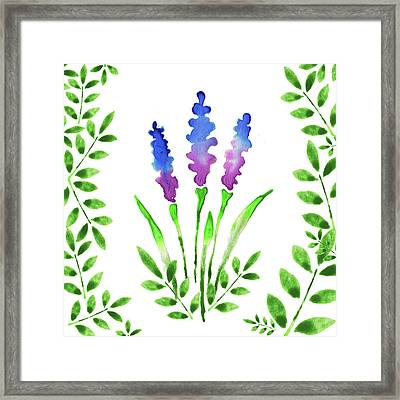 Blue Watercolor Flowers And Leaves I Framed Print