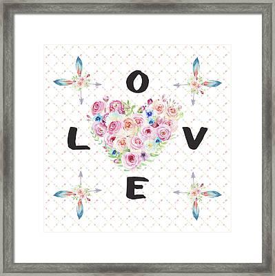 Watercolor Flowers Arrows Love Typography Framed Print by Georgeta Blanaru