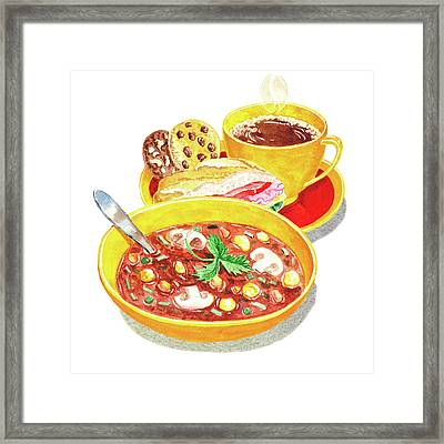 Framed Print featuring the painting Watercolor Food Illustration Full Lunch by Irina Sztukowski
