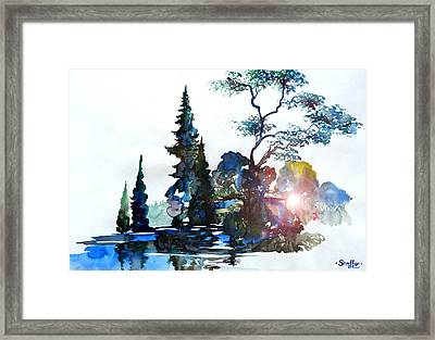 Watercolor Forest And Pond Framed Print